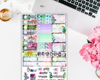 Colorful Cacti Addiction Planner Stickers - Mini Kit