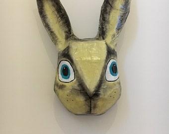 Paper mache Rabbit / Hare / Bunny head / portrait