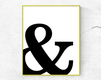 Ampersand Print, Ampersand Poster, Ampersand Digital, Nordic Poster, Scandinavian, Minimalist Print, Black and White Poster (W0128)