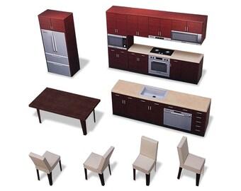 Kitchen #001 - ifunwoo miniature Paper Craft
