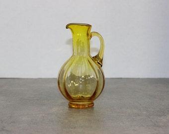 Small Amber Glass Pitcher