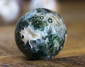 Rare Agatized Ocean Jasper Sphere with Druzy