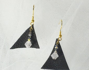 Leather and Swarovski earrings