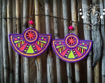 Tribal Geometric Earrings Pink Purple Fluorescent Geometry Embroidery Festival