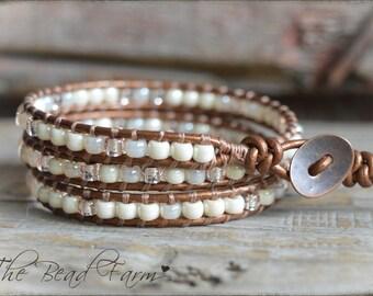 Beaded Leather Wrap Bracelet, Boho Style Wrap Bracelet, Wrap Bracelet, Beaded Wrap Bracelet, Triple Wrap Boho Bracelet, Bohemian Bracelet