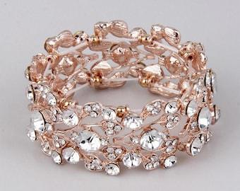 Rose Gold Bridal Bracelet Rose Gold Wedding Jewelry Stretch Bracelet Bangle Rose Gold Bracelet Crystal Wedding Leaf Bracelet for Small Wrist