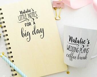 Wooden Wedding planner Note Book and Mug keepsake gift set  bride to be gift. Personalised wedding planner journal.