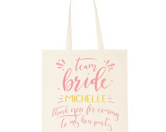 Hen party Team Bride cotton tote bag. Thank you gift for your bachelorette party.