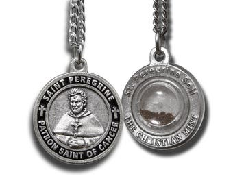"St Peregrine Patron Saint of Cancer Medal w/ Capsule of St Peregrine Soil - With 18"" Chain (For Women)"