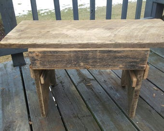 Farmhouse Antique Bench, Barn Wood Porch Handmade, Primitive Decor,  Furniture, Bedroom,