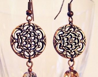 Copper filigree with crystal earrings