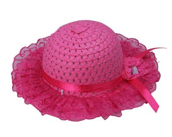 Bright Pink w/Lace Girls Toddler Girls Easter Hat Easter Bonnet Sun Hat Teaparty Hat
