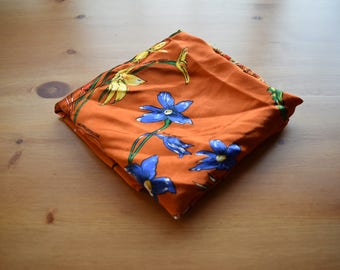 Vintage Western Australian wildflowers printed orange scarf