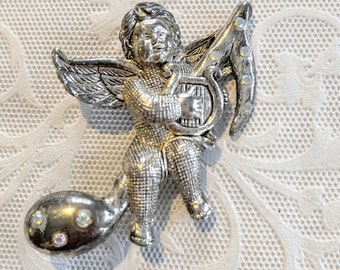 SALE-LARGE Vintage Angel/Cherub Brooch/Pin-Silver with Rhinestones-Sitting on a Music Note Playing His Harp-Shipping is .99c for all orders!