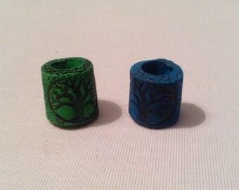 Green tree of life dread bead. Dreadlock bead. Dread schmuck.