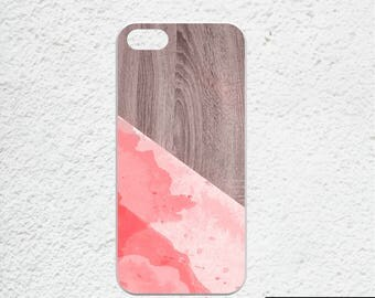 iPhone 7 plus case wood watercolor - Available for iPhone 5, iPhone 6 plus, iPhone 6s - pink watercolor iphone case - wood print iphone case