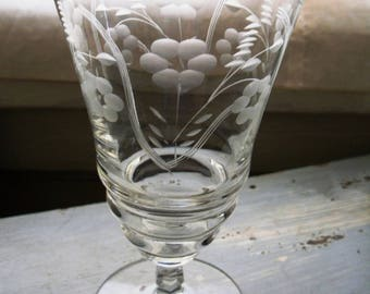 Vintage Mid-Century Rock Sharpe Crystal Juice/Iced Tea Glass with cut floral pattern