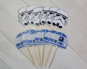 12 Star Wars Cupcake Topper - R2D2, Storm Trooper