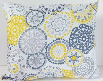 Grey and Yellow Pillow Cover