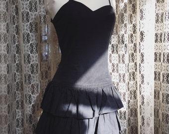 1980's Party Dress // Ra Ra Dress // LBD // Vintage Mini Dress // 80's Tiered Skirt