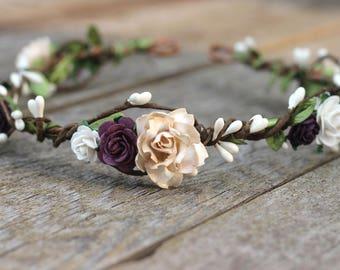Floral Crown Purple Blush Plum Flower Crown Black Flower