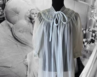Vintage Radcliffe Lingerie Chiffon Robe Light Blue Sheer Peignoir Full Length Nightgown Robe Romantic Photo Shoot