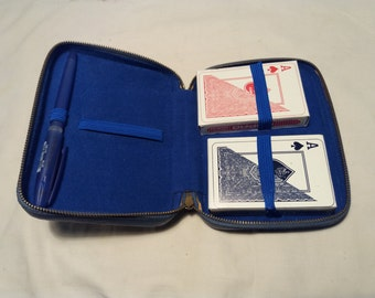Vintage Blue Leather Case for Playing Cards