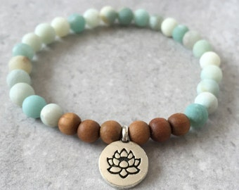 Lotus Charm Bracelet- Amazonite & Sandalwood - Mala Meditation Yoga Jewelry