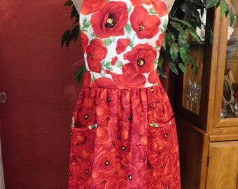 LADIES POPPY APRON --  bib apron with 2 lined pockets --