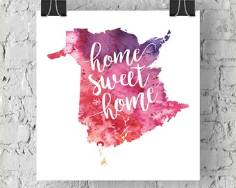 New Brunswick Home Sweet Home Art Print, NB Watercolour Home Decor Map Print, Giclee Canada Art, Housewarming or Moving Gift, Hand Lettering