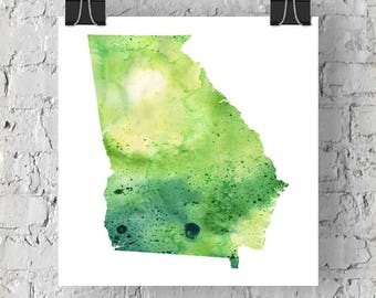 Georgia Watercolor Map - Giclée Print of Hand Painted Original Art - 5 Colors to Choose From