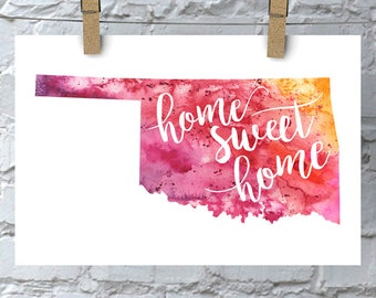 Oklahoma Home Sweet Home Art Print, OK Watercolor Home Decor Map Print, Giclee State Art, Housewarming Gift, Moving Gift, Hand Lettering
