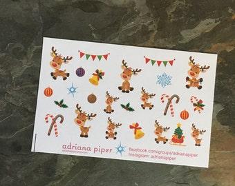 Reindeer Stickers for Erin Condren Life Planner, Plum Paper Planner, Filofax, Kikki K, Calendar or Scrapbook SH-126