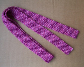 unique knitted skinny shades of pink and purple necktie a cool gift for a cool season Christmas gift groomsman tie winter wedding