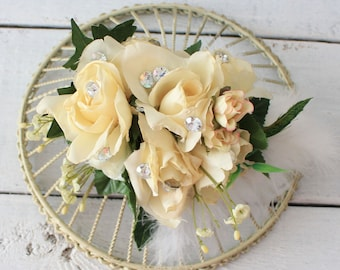 Flower Fascinator,Cream Hair Clip, Hair Accessory, Rustic Flower Headpiece, Woodland Fascinator, Rose Flowers, Accessories,Flower Headband
