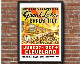 Great Lakes Exposition Cleveland Ohio 1936 Event Poster – Art Deco Fairgrounds