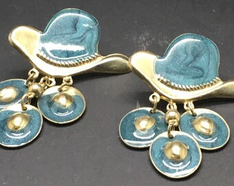 Vintage Cowboy Cowgirl Hat Earrings Blue Turqouise Shimmery Dangling Hat Charms 80s 90s Western Theme Rodeo Pierced