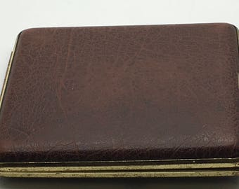 Vintage  Brown Faux Leather Cigarette  Case  Calling Card Businees Cards Made In Germany 40s Smoking Smoker Tobacciana