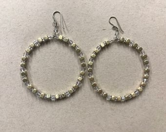 Gold Tone Crystal Beaded Hoops 2""