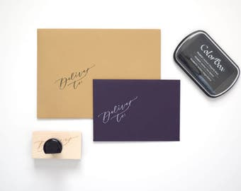 "Calligraphy ""Deliver to:"" Stamp"
