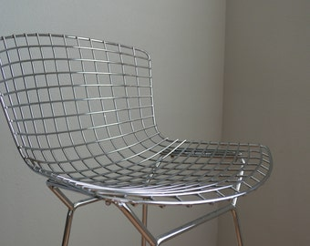 SOLD Vintage Authentic Harry Bertoia Chrome Wire Bar stool chair for Knoll with full cover
