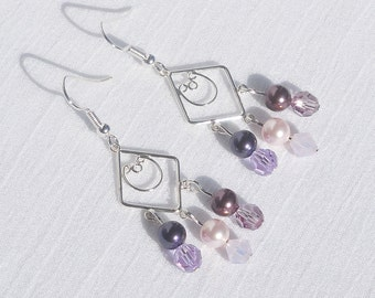 Swarovski pearls and crystals on sterling silver drop earrings