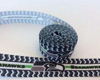 Seattle Seahawks Grosgrain  ribbons, Seattle ribbons, Football Ribbons, football ribbons, yardline ribbons, 1 inch Grosgrain ribbons