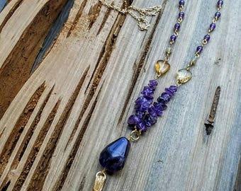 Amethyst & Citrine tassel necklace