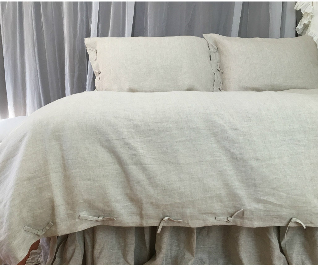 Natural Linen Duvet Cover In Tie Knot Style Linen Bedding