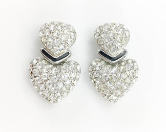 Dior Hear-Shaped and Chrystal Embellished Earrings - 1990's