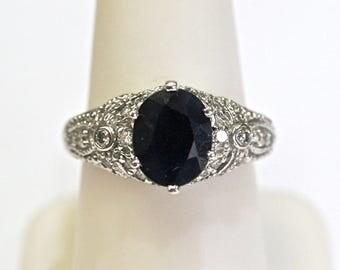 Sapphire/Diamond Filigree Ring 0.40ctw in 14k White Gold