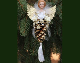 Angel Pinecone Ornament with Handmade Ribbonwork Flowers