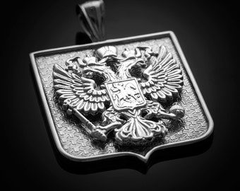 Russian Federation Coat of Arms Sterling Silver Double-Headed Eagle Badge Pendant