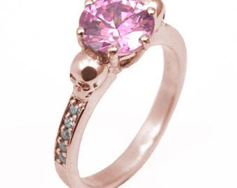 Skull Ring 9ct Gold 2ct Round Cut Pink Diamond-Unique  Hand Crafted Ring with Accents(266)
